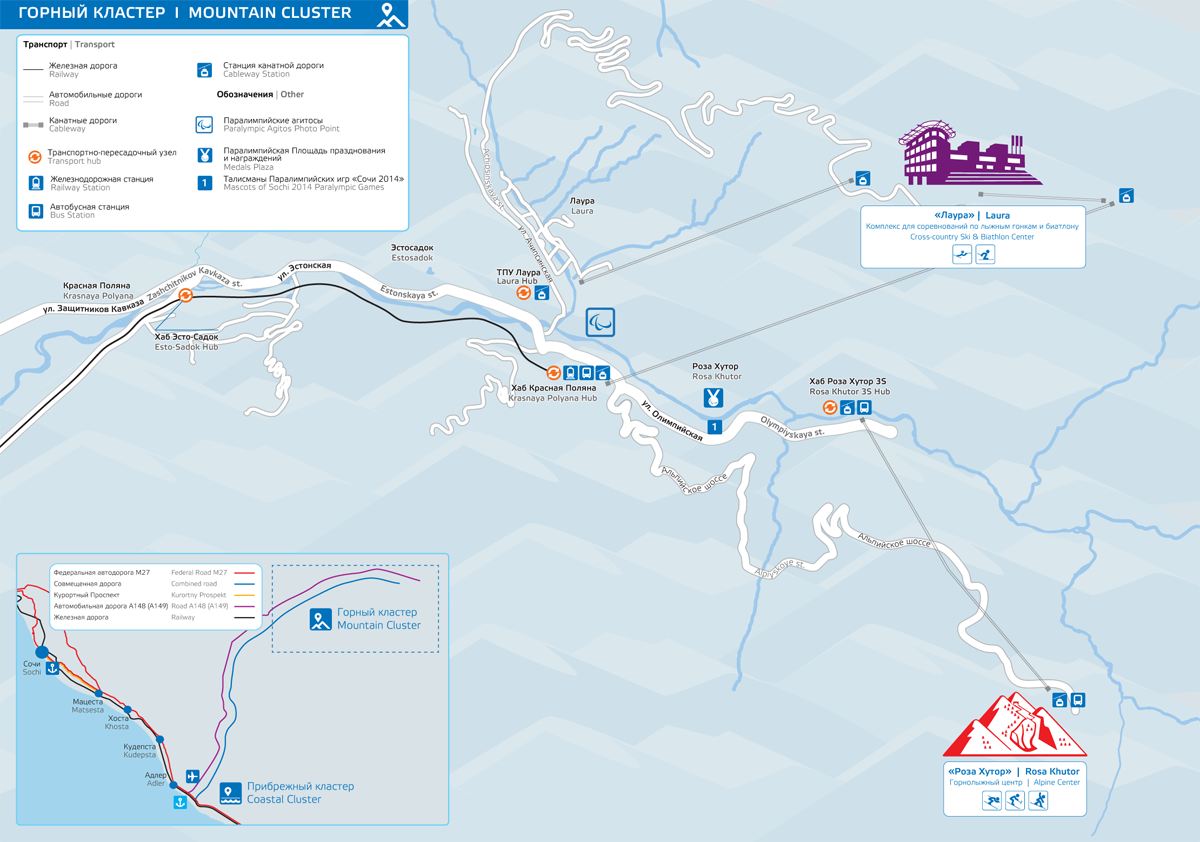 sochi paralympic mountain cluster map
