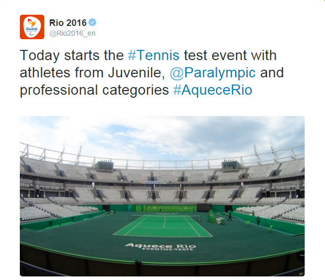 rio 2016 tennis test event photo tweet