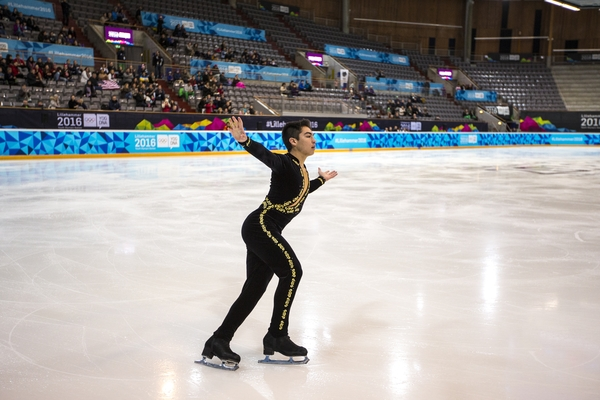 Camden Pulkinen (USA) competes in the Men's Individual Figure Skating Short Program during the Winter Youth Olympic Games, Lillehammer Norway, 13 February 2016. Photo: �82015001591 for YIS/IOC Handout image supplied by YIS/IOC