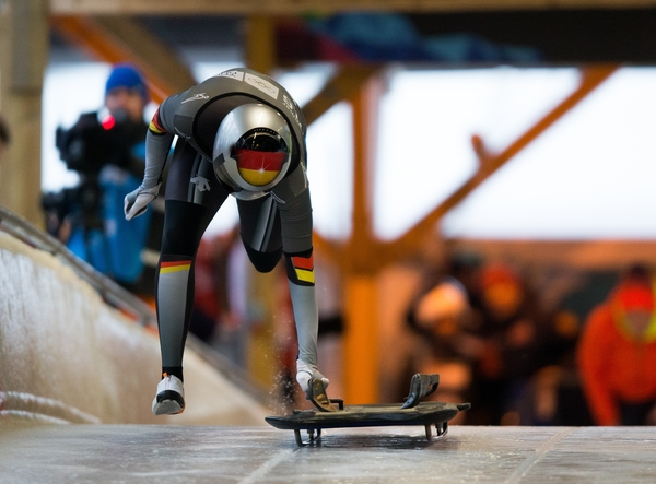 Hannah Neise GER competes in the Women's Individual Skeleton at Lillehammer Olympic Sliding Centre during the Winter Youth Olympic Games, Lillehammer, Norway, 19 February 2016. during the Winter Youth Olympic Games, Lillehammer Norway, 19 February 2016. Photo: Al Tielemans for YIS/IOC Handout image supplied by YIS/IOC