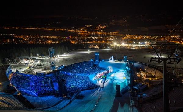 A view over the Lysgårdsbakkene Ski Jumping Arena at the beginning of the opening ceremony for the 2016 Winter Youth Olympic Games, Lillehammer Norway, 12 February 2016. Photo: Jon Buckle for YIS/IOC Handout image supplied by YIS/IOC