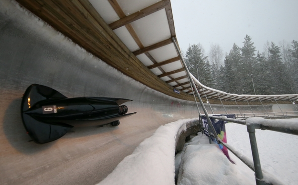 Bronze Medal winner Mercedes Schulte AUT competes in the Women's Monobob competition as snow falls at the Lillehammer Olympic Sliding Centre during the Winter Youth Olympic Games, Lillehammer, Norway, 20 February 2016. Photo: Jed Leicester for YIS/IOC Handout image supplied by YIS/IOC
