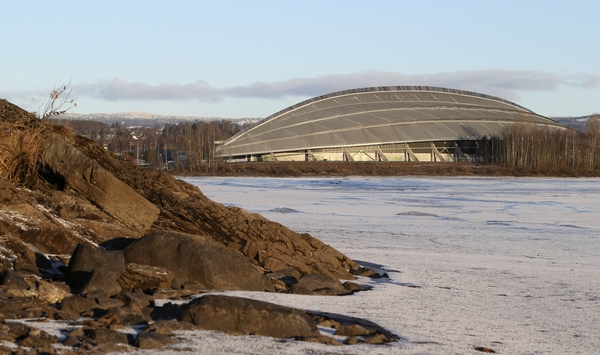 A view of Hamar Olympic Hall, venue for Speed Skating events of the 2016 Winter Youth Olympic Games in Lillehammer, Norway, captured on 11 February 2016. The venue was built as the Speed Skating rink for the Lillehammer 1994 Winter Olympic Games and designed to resemble an upturned Viking ship. Photo: Jed Leicester for YIS/IOC Handout image supplied by YIS/IOC