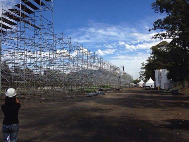 Brett Gosper ‏@brettgosper May 18 Olympic rugby stadium starting to take shape in Rio. Will be temporary (obviously) with 15,000 capacity. #Rio2016