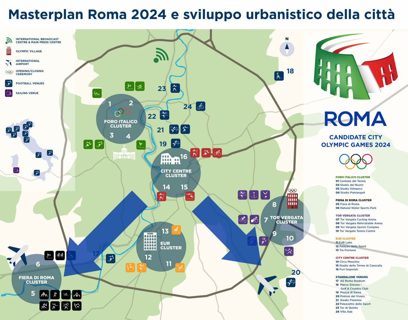 Rome 2024 Masterplan. Image via Federazione Italiana Canottaggio