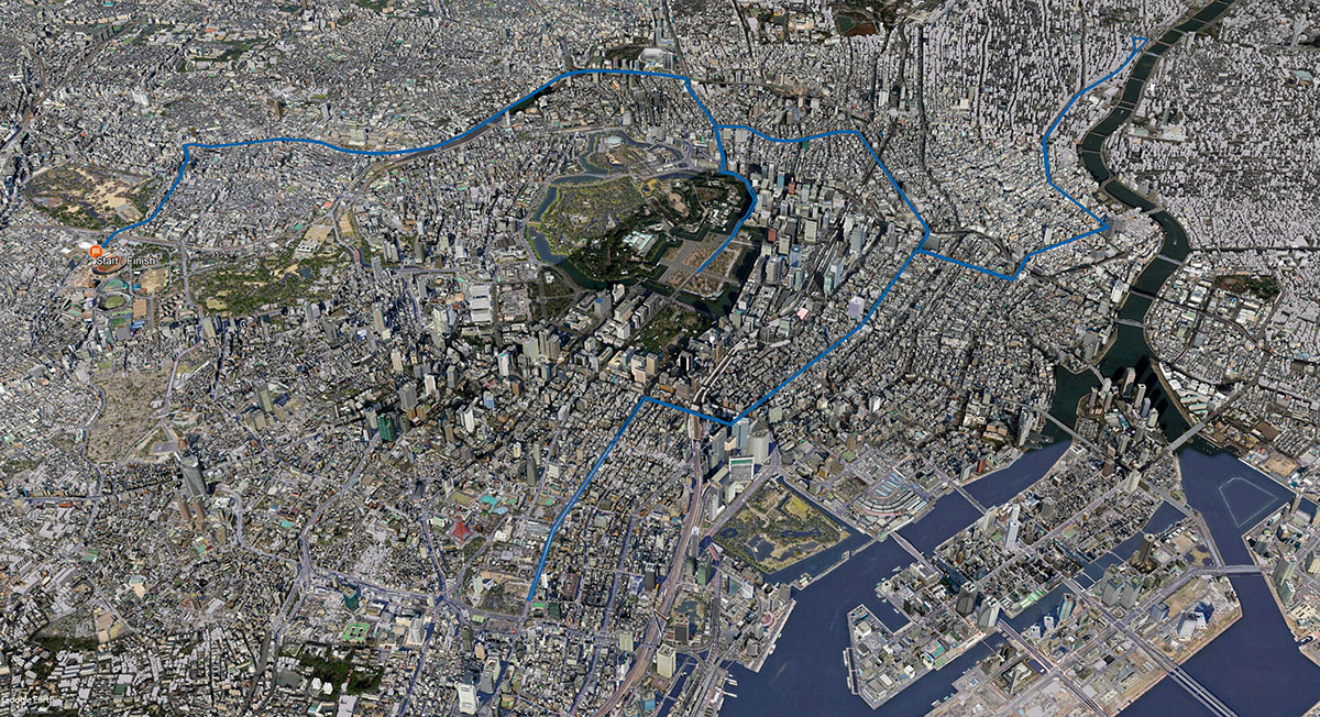 Tokyo 2020; Marathon Course in Google Maps – Architecture of the Games
