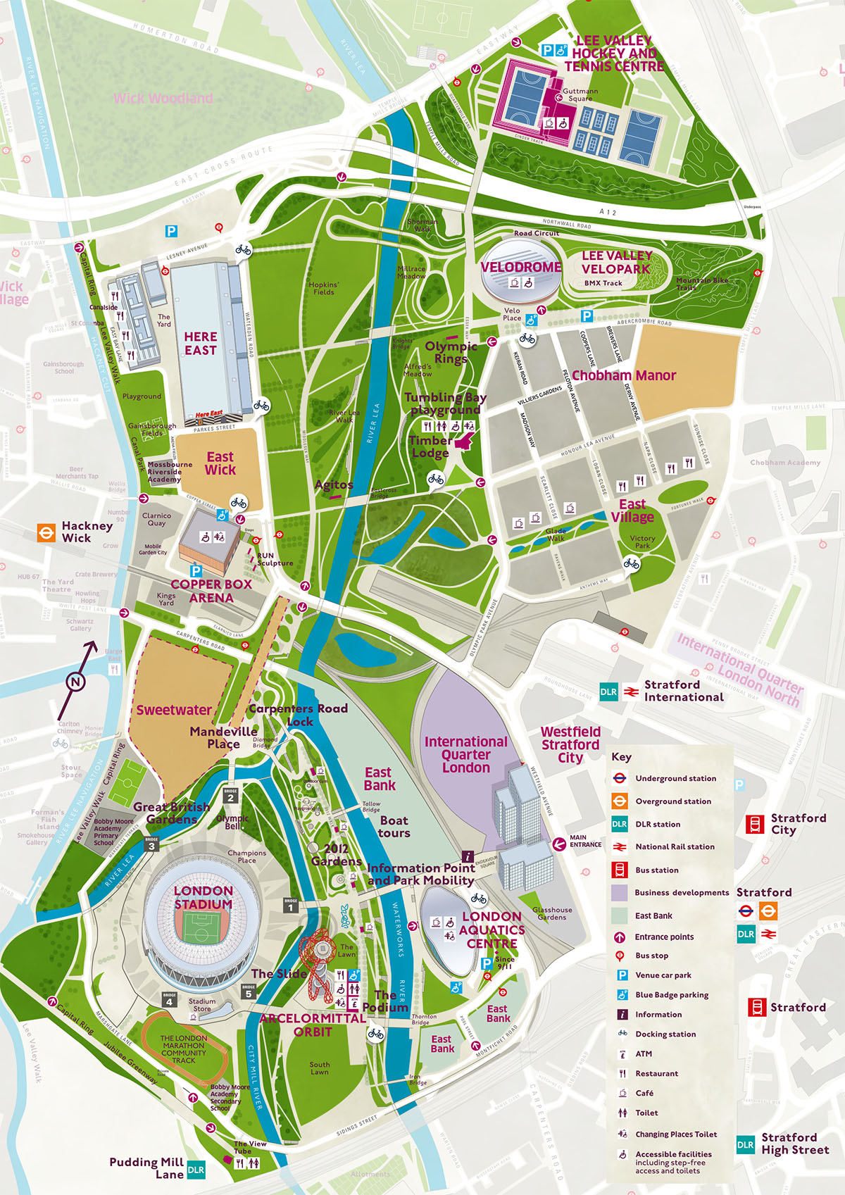 Queen Elizabeth Park Map London 2012; Park map Queen Elizabeth Olympic Park (April 2019